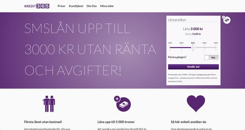 Kredit 365s hemsida